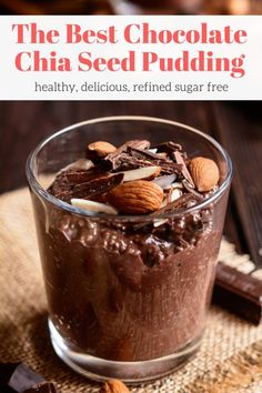This Chocolate Chia Seed Pudding is creamy, full of chocolate flavor, and made without refined sugar. Enjoy this healthy treat for breakfast or dessert for a guilt-free chocolate treat. Good Healthy Recipes, Healthy Treats, Healthy Desserts, Gourmet Recipes, Healthy Food, Healthy Eating, Healthy Lunches, Healthy Bedtime Snacks, Healthy Rice
