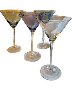 Iridescent Colored Martini Glasses