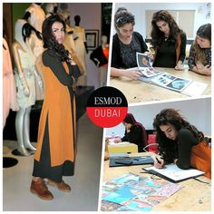 #ITLO Day 1 of Esmod Dubai Fashion Design Workshop student Nansy A wearing a @zara jumpsuit and a rust orange long coat from @topshop with chunkyboots from @ninewest. In class she's looking at trend books and how to make use of them as well as how to draw inspiration from a mood board. I love standing out and I want to finish all the workshop levels Esmod offers so that I can start creating my own garments that no one else will have! Like Nansy join one of our Fashion Design Workshops…
