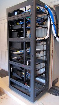 Electronics rack on wheels that will easily slide in and out of closet or storage space
