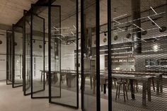 Gallery of Bulthaup Showroom TLV / Pitsou Kedem Architects - 14 Industrial Office, Industrial Style, Expanded Metal Mesh, Pitsou Kedem, Interior Architecture, Interior Design, Pivot Doors, Screen Doors, Showroom Design