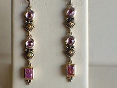 18kt Yellow Gold and Sterling Silver Pink Tourmaline Earrings   #2089     $125.00  Harold's Diamonds and Jewelry  1228 W. Main St.  Lewisville, TX 75067  Frisco Mercantile 8980 Preston Road