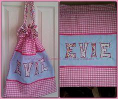 Cute personalised drawstring bag by www.facebook.com/CraftyLittleMadam