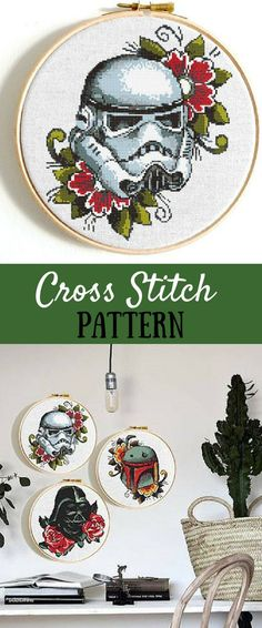 Star Wars cross stitch pattern Clone cross stitch Floral xstitch pattern Darth Vader R2D2 BB-8 PDF sampler Counted cross stitch Modern deco #starwars #affiliate