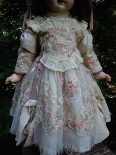 Exquisite Couturier Costume 3 pcs for antique french Bebe Jumeau from believe on Ruby Lane
