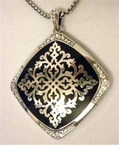 "Brighton ""Sophia"" Black Lace Silver Plate Necklace Reversible Pendant JN7712 NWT"