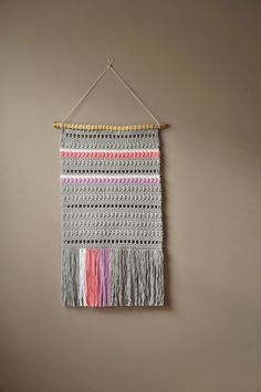 Bohemian Cotton Wall Hanging / Woven Tapestry / Modern Tapestry / Fringe / Weaving / Nursery Art / Rustic Textile / Boho Home Décor / Grey by LemonCucullu on Etsy https://www.etsy.com/listing/206560486/bohemian-cotton-wall-hanging-woven