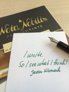 Schreiben ist klares Denken. Am Besten mit einer edlen #Premiumtinte - zum Beispiel DeAtranentis Dokumententinte Grün von www.nota-nobilis.at