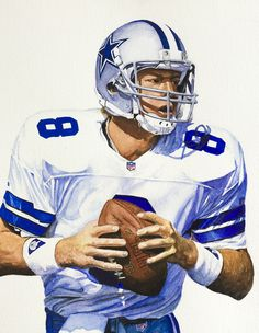 Watercolor Art. Dallas Cowboys Quaterback.  By Jimmy Anaya