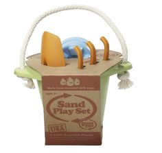 Green Toys Recycled Sand Set These awesome, eco-friendly toys are safe for the environment and your little one! Pack this fun bucket, trowel and castle mould for your next beach visit and set to work in the sand. Kids will love exploring the water and textural elements of sand, while parents will rest assured that the toys are constructed with soy-based inks and recycled milk containers! Of course, this set is BPA, PVC and Phthalates free.  www.hipbaby.com  |  $35.50