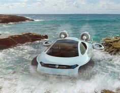 Futuristic vehicle Volkswagen Aqua hovercraft concept designed by Yuhan Zhang from China is powered by Hydrogen and propelled by impellers. This Volkswagen concept was designed to cope with the… Hover Car, Amphibious Vehicle, Hydrogen Fuel, Aqua, Offroader, Cars Land, Cars Uk, Terrain Vehicle, Flying Car