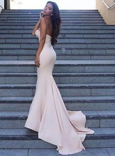 Strapless Mermaid Light Pink Prom Dress,2017 Party Prom Dress,Custom Long Evening Dresses,Spandex Formal Prom Dresses N48