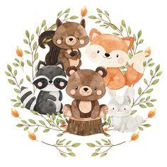 Woodland Animals Theme, Safari Theme, Woodland Baby, Baby Animal Drawings, Easy Drawings For Kids, Cute Kawaii Drawings, Scrapbook Bebe, Baby Scrapbook Pages, Baby Animals