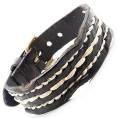 Indian Style Men's Genuine Leather Bracelet Black Cuff Adjustable 25mm