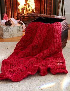 Cranberry Basketweave Throw | AllFreeCrochetAfghanPatterns.com