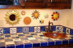 mexican tiles kitchen countertop design ideas blue white colors