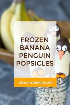 Frozen Banana Penguin Pops If your regional weather has you feeling like a penguin in the north or south pole,. Low Sugar Recipes, No Sugar Foods, Dairy Free Recipes, School Lunch Recipes, Potluck Recipes, One Pot Meals, Kids Meals, Frozen Banana Recipes, Game Day Food