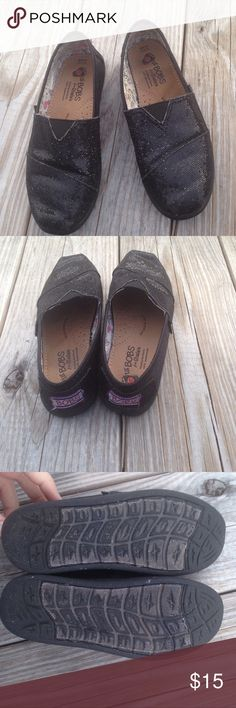 Lil Bobs by Skechers Very cute slip-on black sequined Bobs. Used condition but lots of life left Skechers Shoes