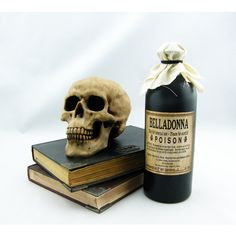 Halloween Potion Bottle Belladonna ($11) ❤ liked on Polyvore featuring home, home decor, holiday decorations, grey, home & living, home décor, ornaments & accents, painted bottles, grey home decor and skull home decor