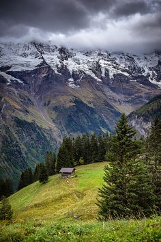 """Mürren, Canton of Berne.  Sometimes I just see a mountain and all I can think is, """"I'm gonna climb that. Maybe not today or tomorrow, but one day."""""""
