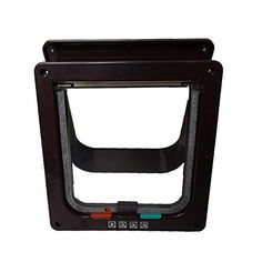 HSL Pet Accessory 4 Way Locking Cat Dog Flap Lockable Door Gate Way(Black,M) *** You can find more details at