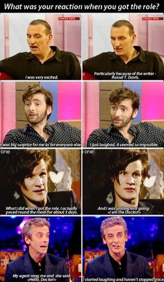 What was your reaction when you got the role? -Christopher Eccleston, David Tennant, Matt Smith, and Peter Capaldi on getting the role of The Doctor in Doctor Who