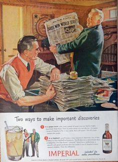 Imperial Whiskey  40 s Vintage Print Ad  Color Illustration   Cards win World Series  Magazine Art