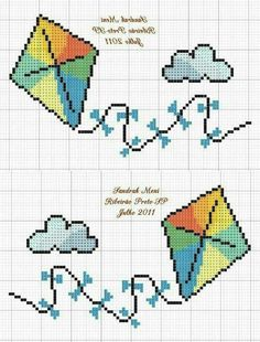 Outdoors cross stitch. Kite cross stitch.