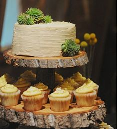 Wood Tiered Cupcake Stand for a rustic wedding