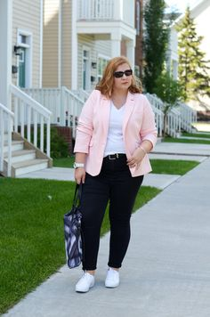 Pastel blazer, white sneakers, causal outfit, spring summer trend, Addition Elle, Adidas sneakers, Burberry bag, curvy fashion blogger for women over 35,