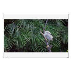 Egret Bird on Palms Wall Decal