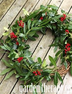 A Very Merry Fresh Holly Wreath for Christmas - Garden Therapy Christmas Garden, Christmas Home, Christmas Holidays, Christmas Crafts, Christmas Decorations, Holiday Decorating, Christmas Ideas, Christmas Stuff, Winter Holidays
