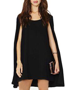 Round Collar Cloak Chiffon Dress