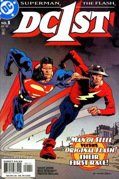 """""""Speeding Bullets"""": Abra Kadabra pits the original Flash, the new Flash and Superman against each other in a race across time and space. Abra Kadabra pits the original Flash, the new Flash and Superman against each other in a race across time and space. Dc Comic Books, Comic Book Covers, Comic Art, First Superman, The New Teen Titans, Dc Comics Superheroes, Classic Comics, Comics Universe, Dc Heroes"""