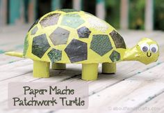 Paper Mache Patchwork Turtle – About Family Crafts Paper Mache Crafts For Kids, Paper Mache Projects, Animal Crafts For Kids, Craft Activities For Kids, Projects For Kids, Art For Kids, Craft Projects, Paper Crafts, Diy Paper