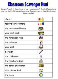 "Back to School - Classroom Scavenger Hunt Welcome your new students into your classroom with this fun back to school activity. (It's great for the first day or during a before school "". Back To School Night, 1st Day Of School, Beginning Of The School Year, School Fun, School Starts, School Holidays, Middle School, High School, Classroom Scavenger Hunt"