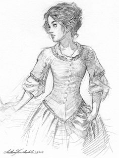 Sketch of an 18th century American young lady, drawn by Canadian artist and illustrator Anthony VanArsdale.