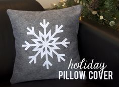 Holiday Pillow Cover :: Flocked Heat Transfer Snowflake