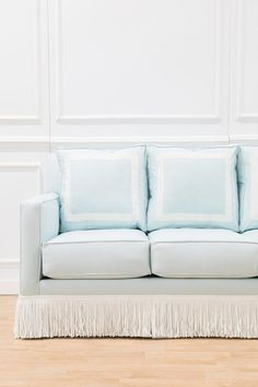 DESCRIPTION *Estimated to be back in stock late July 2020. Join our waitlist above!*The Beverly Sofa features grosgrain trim and bullion fringe, enviable designer details, on a classic and clean track arm sofa!