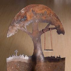 Metal Art Shovel with a Tree Swing design Hand by CindyChinn