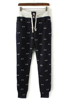 Eye Drawstring Fleece Pants OASAP.com