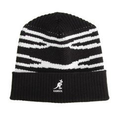 - caciula neagra Kangol Dorsal Stripe, unisex - margine striata, rasucita - personalizata cu logo