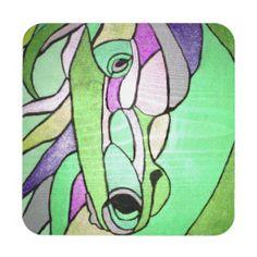 Metallic Horse in Green Coaster Set