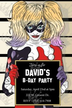 Harley Quinn CUSTOM Digital Printable Birthday Party Invite Template 4 Boy/Girl by OmarsCreations714 on Etsy