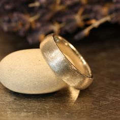 Mens Wedding Band In Solid White Gold Domed Matte Ring His Comfort Fit Other Metals Engraving Available