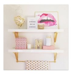 Gold accent shelves