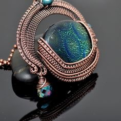 Dichroic Glass Dragon Egg Wire Wrap Copper Pendant · Nicole Hanna Jewelry · Online Store Powered by Storenvy