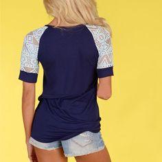 Fashion-Womens-Loose-Summer-Tops-Lace-Short-Sleeve-T-Shirt-Casual-Blouse-Tee-AY