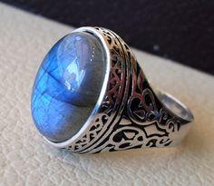 flashy blue labradorite men ring sterling silver 925 natural