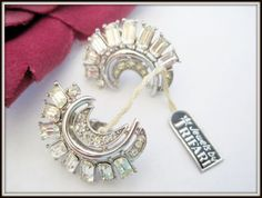 Crown Trifari Earrings  Clear Rhinestones  by VintagObsessions